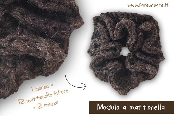 borsa a uncinetto lana matonella modulo