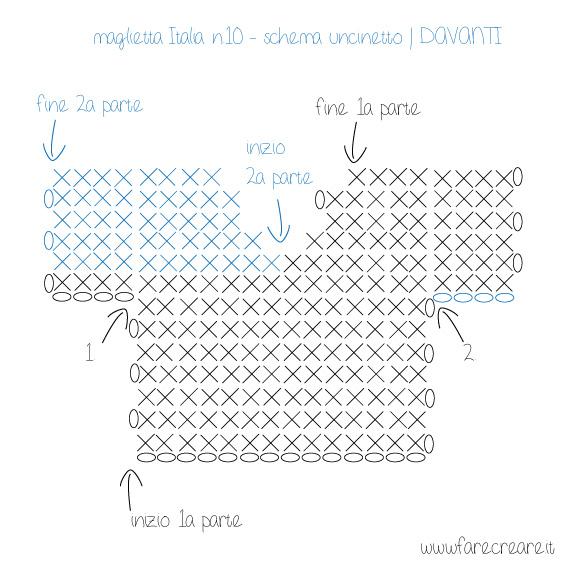 maglietta italia mondiali 2014 uncinetto schema davanti