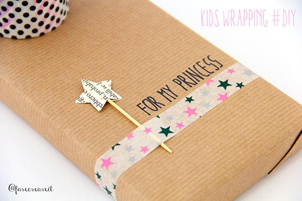 Dettaglio di pacco regalo originale per bambina