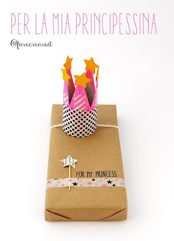 Pacco regalo originale per bambina con corona da principessa