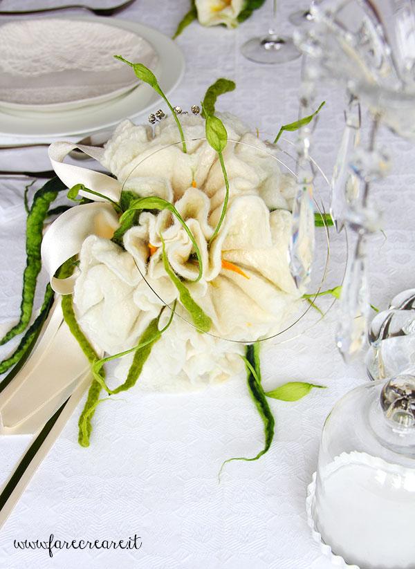 Immagine di bouquet sposa feltro bianco fai da te.