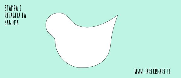 schema di taglio uccellino di stoffa, per centrotavola di primavera.