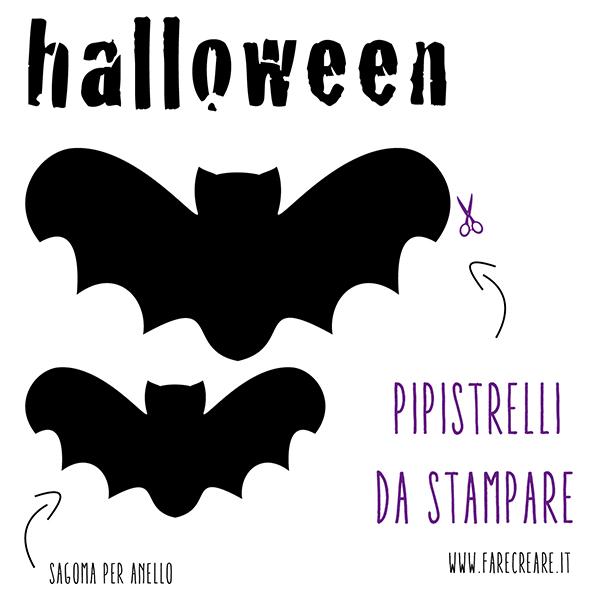 Sagome di pipistrello da ritagliare per Halloween.