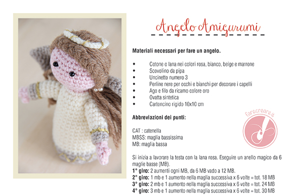 angelo amigurumi tutorial italiano.