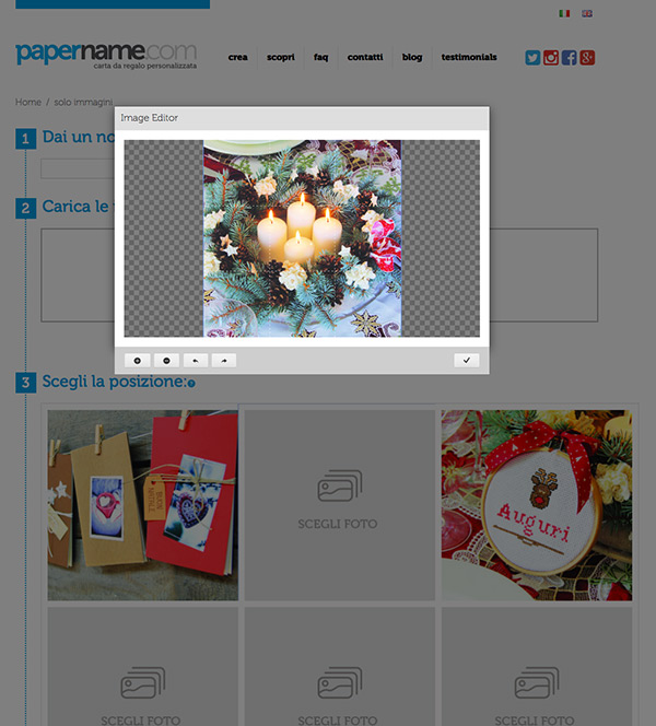 Papername fase acquisto caricamento immagini.