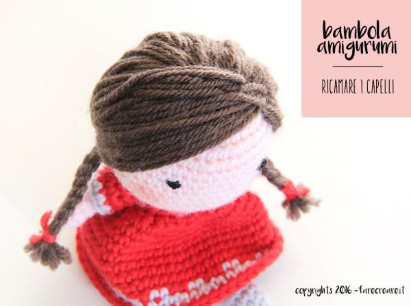 Tutorial per creare la mini bambola amigurumi - come fare i capelli.