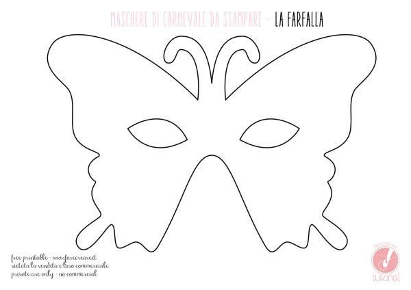 Maschera di carnevale - farfalla - file da stampare.