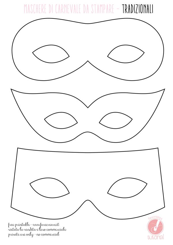 Maschere di Carnevale da colorare - tradizionali