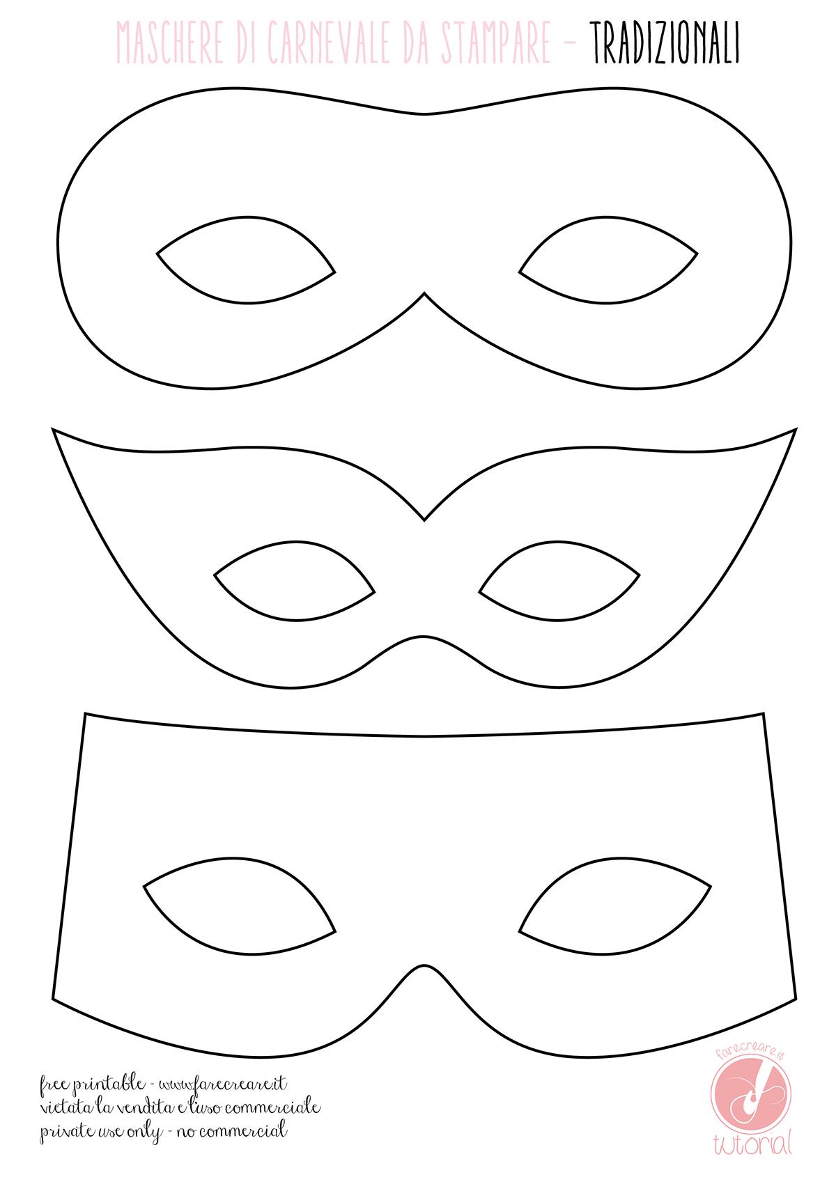 Maschere classiche da colorare copia 01 farecreare for Maschere di carnevale classiche