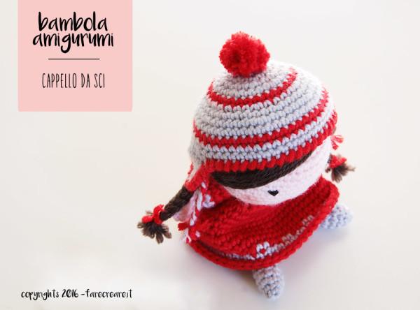 bambola amigurumi cappello da sci.
