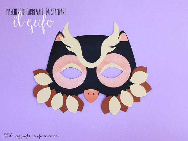 Maschera di carta carnevale: il gufo.