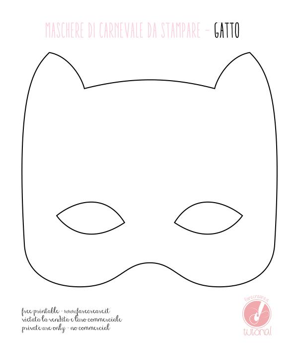 Maschera di carnevale da stampare: il gatto.