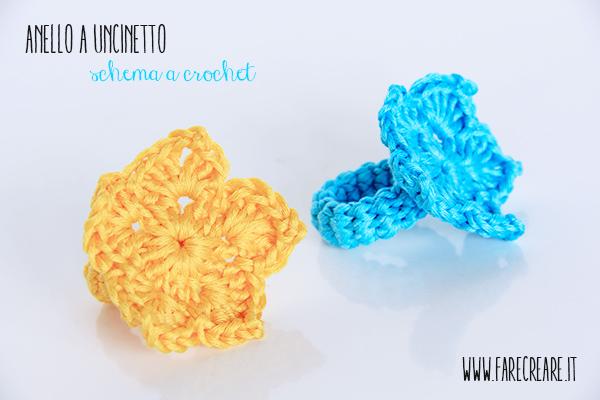Anello giallo e azzurro a uncinetto cotone colore.