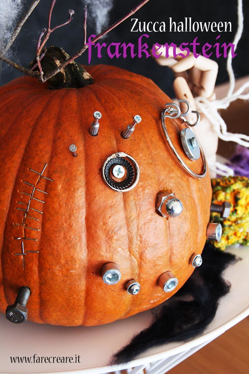 Zucca Frankestein per la festa di Halloween.