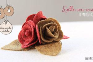 Spille con rose in pannolenci rosso scuro e marrone: idee regalo fatto a mano per Natale.