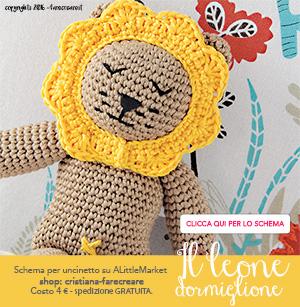 Banner per tutorial leone amigurumi a uncinetto - schema in pdf - italiano.