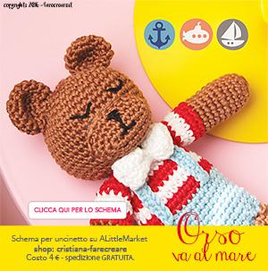 Banner per tutorial orso amigurumi a uncinetto - schema in pdf - italiano.