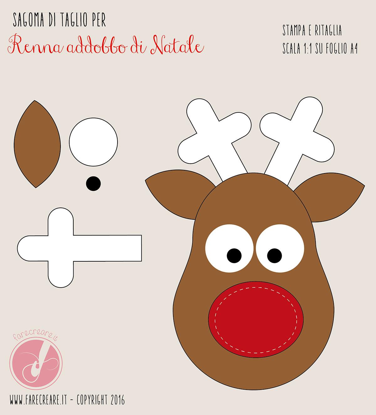 Etichette Natalizie Da Stampare rudolf, la renna di natale in feltro da appendere: schema di