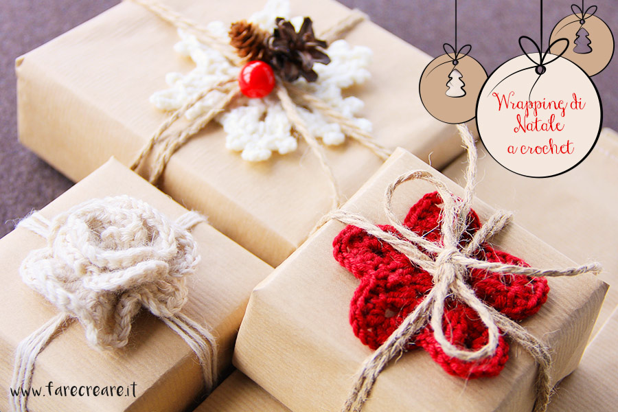 Christmas wrapping a crochet - originale e creativo.