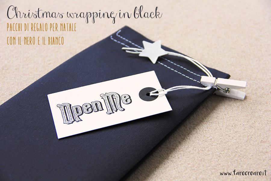 Pacchi di Natale fai da te creativi con il nero e bianco.
