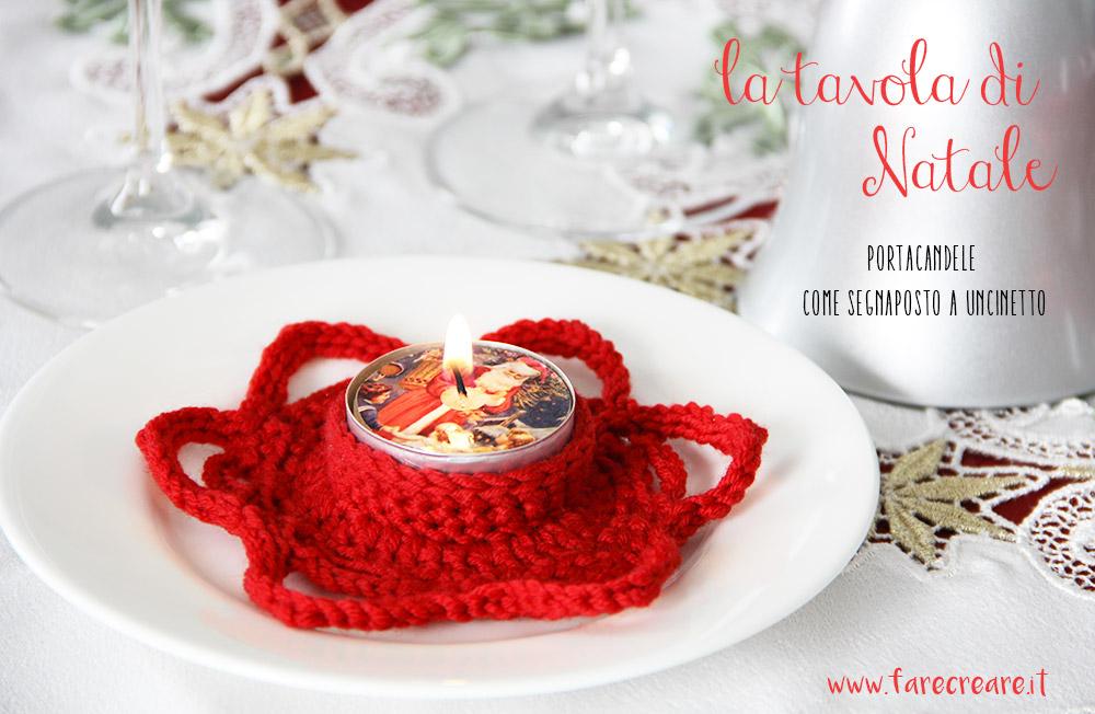 Portacandele per il Natale da utilizzare come segnaposto a crochet.