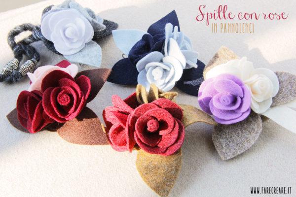 Spille con rose pannolenci colore misti.
