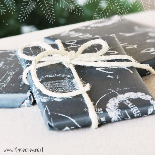 pacchi di Natale in bianco e nero: idea creativa diy per il wrapping.