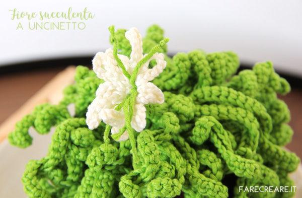 Uncinetto schemi piante grasse facili: pianta riccia con fiore - amigurumi facili per principianti.