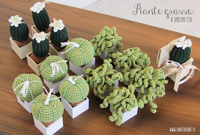 Bomboniere uncinetto piante grasse - schemi e confeizone idee fai da te.