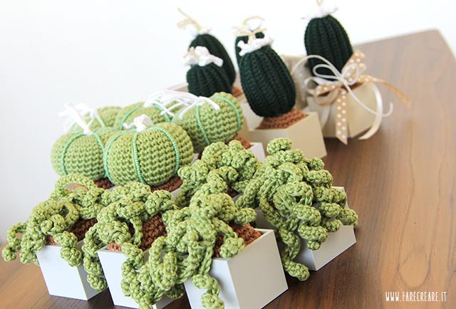 Bomboniere uncinetto piante grasse - come farle e come confezionarle.