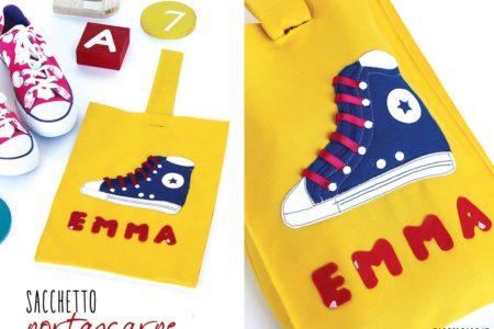 Scarpe da ginnastica sacchetto in stoffa fai da te per la scuola, schema e istruzioni.