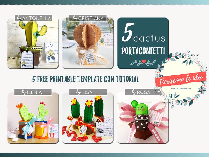 Raccolta creative cinque template per cinque cactus fai da te diversi con scatola portaconfetti.