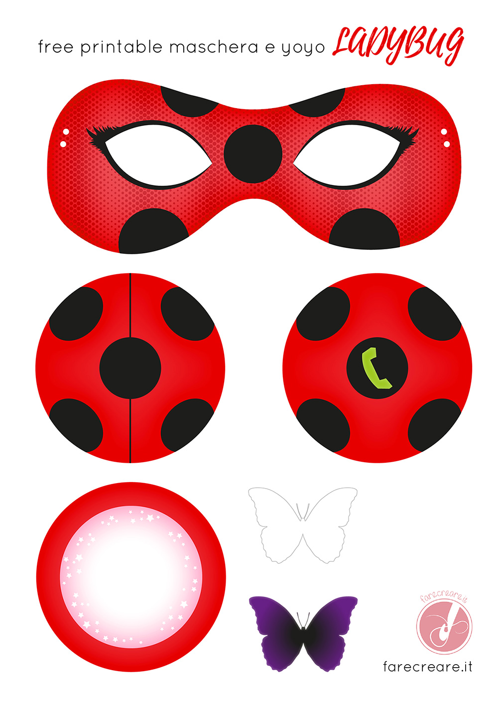 Come fare lo yoyo e la maschera di Lady bug in carta- Free template da stampare.