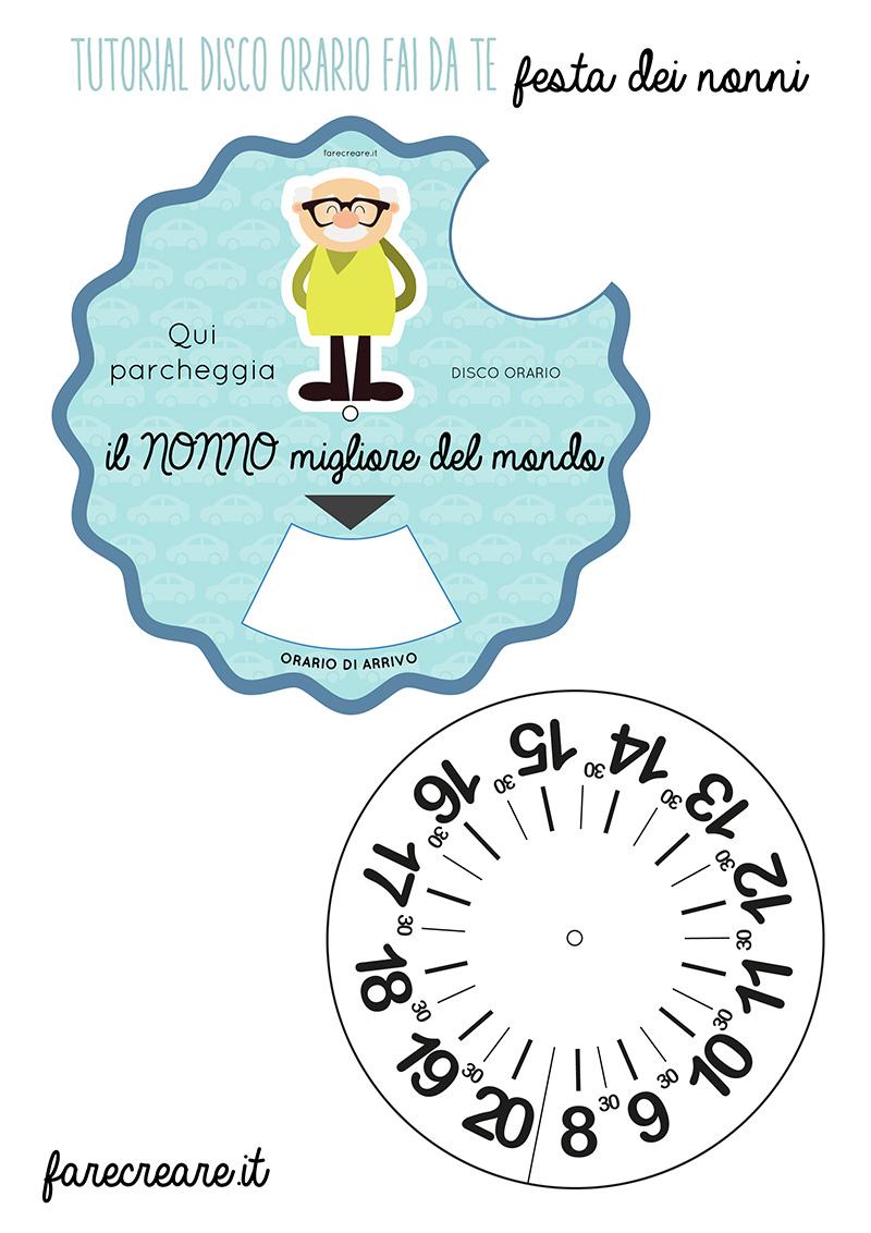 Disco orario per la festa dei nonni - template da scricare per il nonno - da stampare in foglio A4.