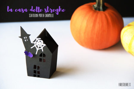 Casa nera porta caramelle per Halloween
