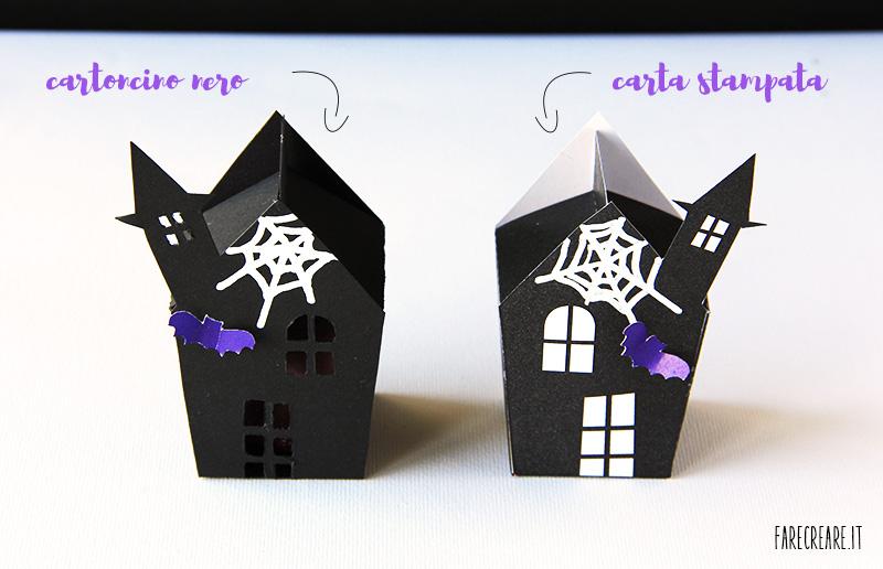 Case delle streghe per halloween in cartoncino nero.