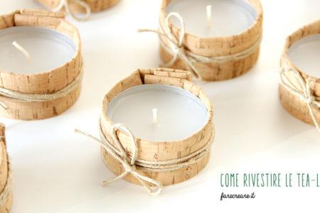 Candele tealight rivestite con tessuto di sughero e corda.