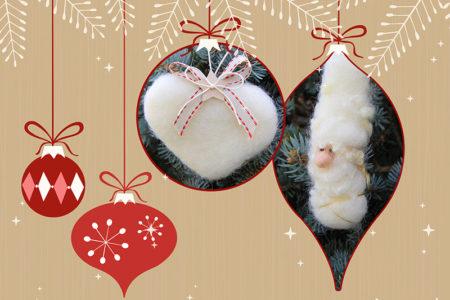 speciale addobbi di natale in lana cardata colore bianco.
