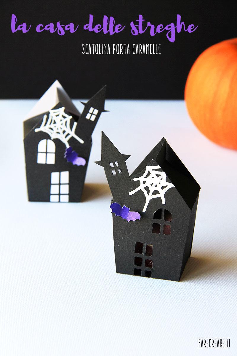 Porta caramelle in cartone nero per Halloween.