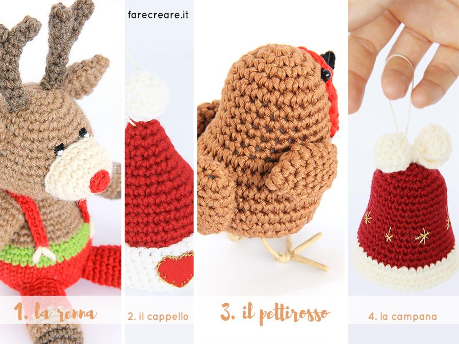 anteprima progetti uncinetto natale: renna, pettirosso, cappello di Babbo Natale e Campana amigurumi.