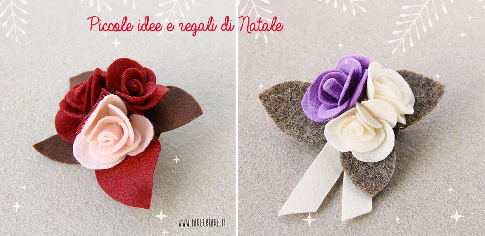 Due spille in feltro con Rose - lavorate a mano - una di colore rosso/rosa, mentre l'altra è bianca e lilla.