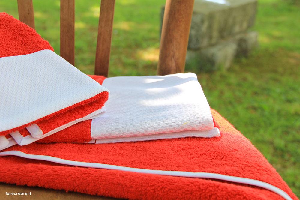 Lime Italy nuova collezioni asciugamani spugna - colore rosso con balza di piquet bianca di cotone.