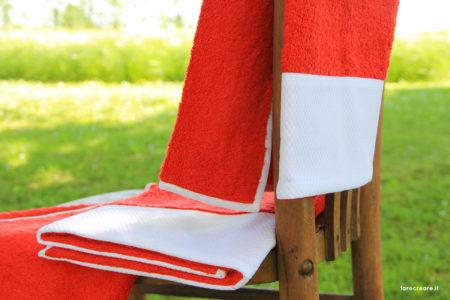 Lime Italy nuova collezioni asciugamani - colore rosso con balza di piquet cotone bianco.