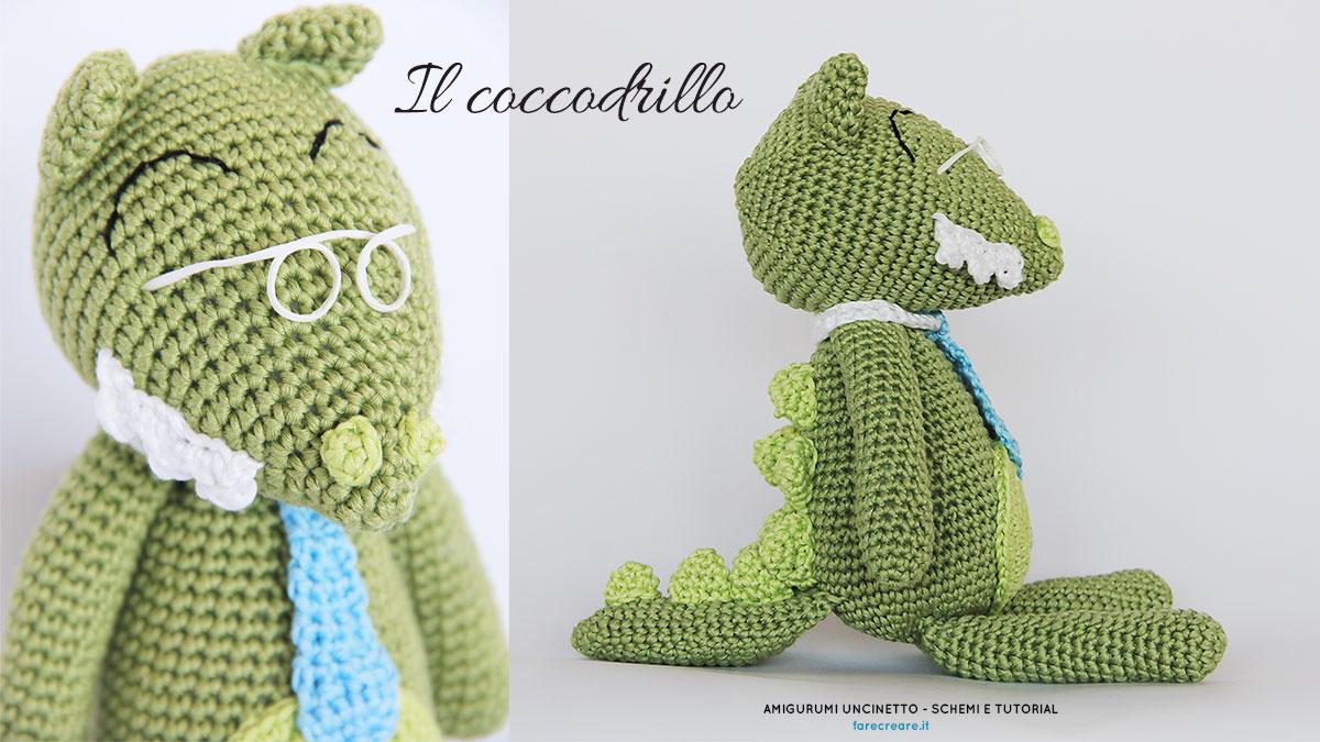 Un coccodrillo a uncinetto con cravatta, denti e occhiali. Schema in Italiano.
