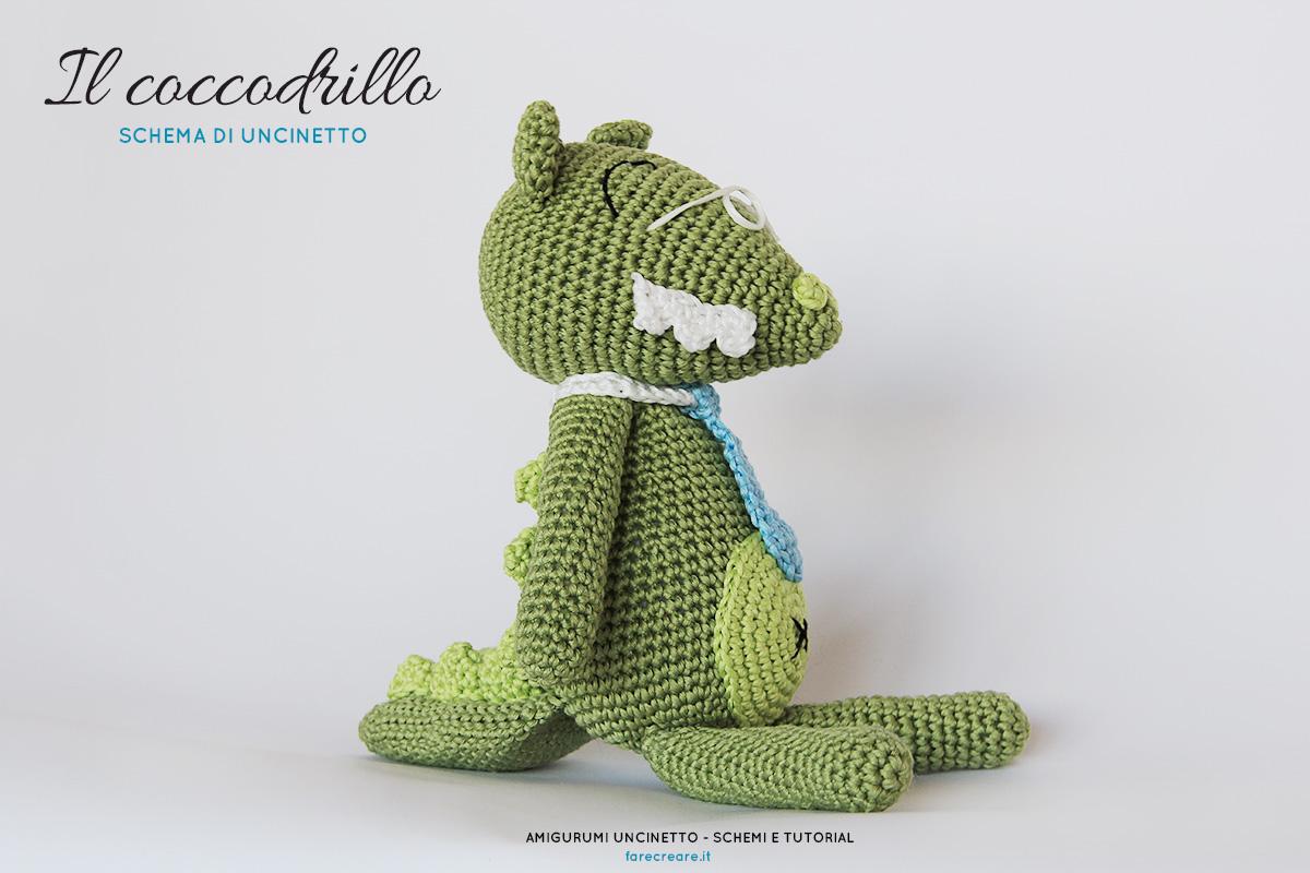 Un coccodrillo a uncinetto: schema di amigurumi facile in italiano .