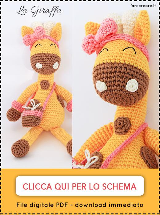 schema in italiano per giraffa a uncinetto.