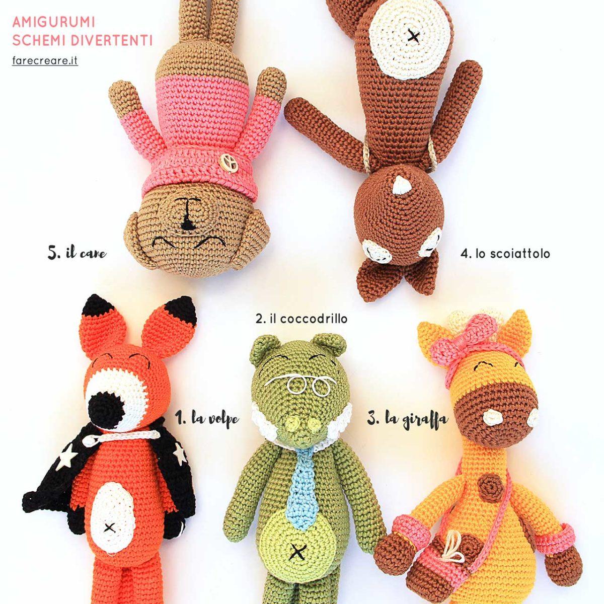 amigurumi animali : volpe, coccodrillo, giraffa, scoiattolo, cane