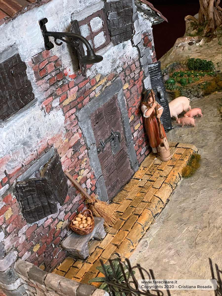 presepe artistico in stile veneto fatto a mano vista casa vecchia