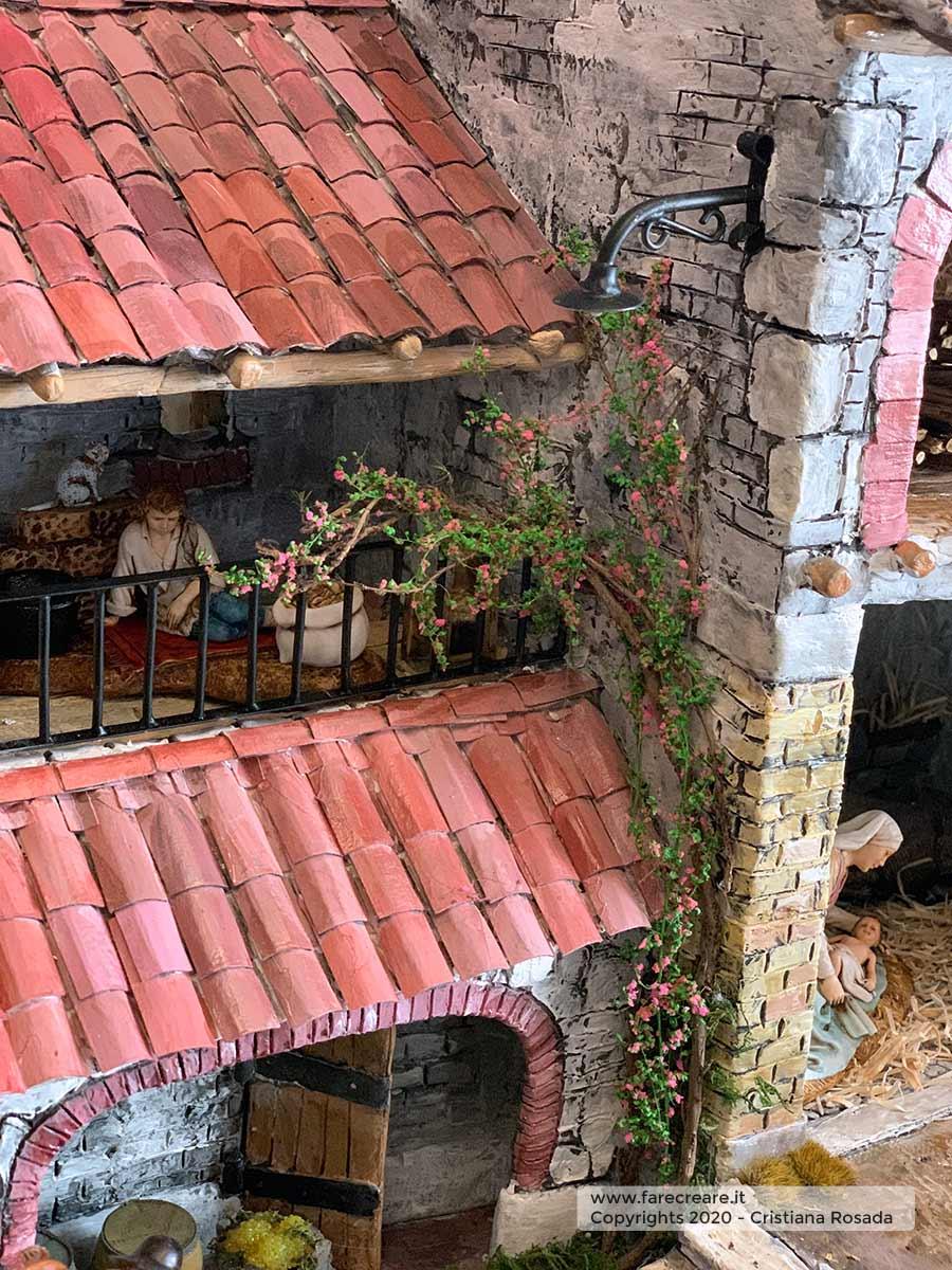 presepe artistico in stile veneto fatto a mano vista casa rampicante