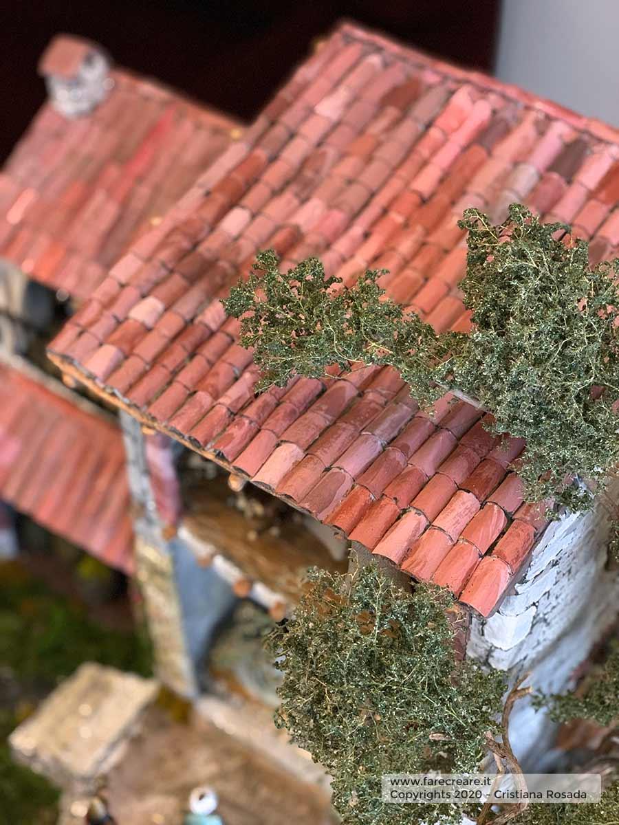 presepe artistico in stile veneto fatto a mano vista tetto con tegole